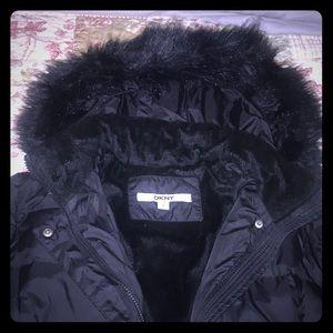 DKNY Faux Fur Puffer coat size Large